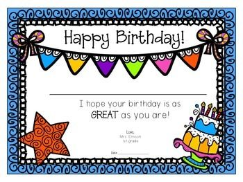 Surprise your students with a special birthday certificate!! These.