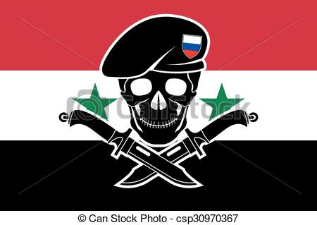 Clip Art Vector of russian special forces and syrian flag.