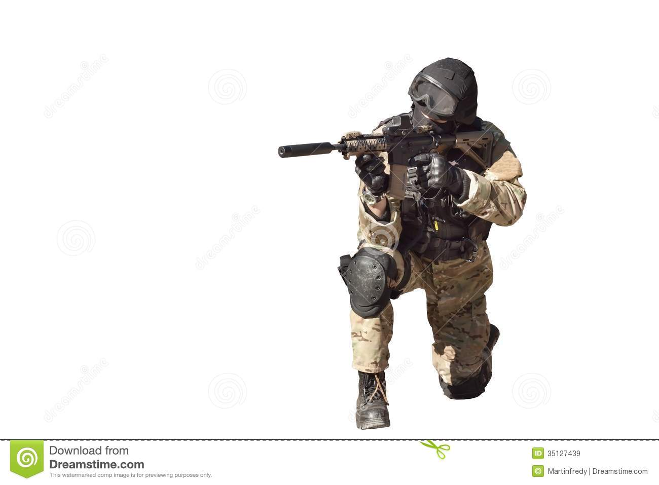 Special Forces Soldier, Isolated On White Stock Photo.