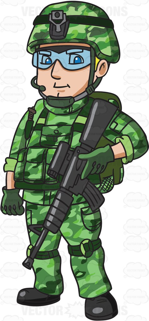 A Us Special Forces Soldier Cartoon Clipart.