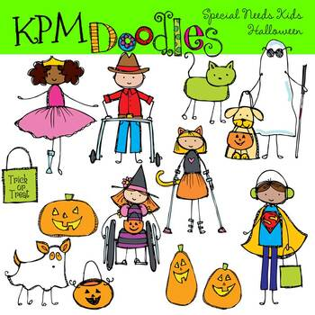 Special Needs kids Halloween Trick or Treat Clipart.
