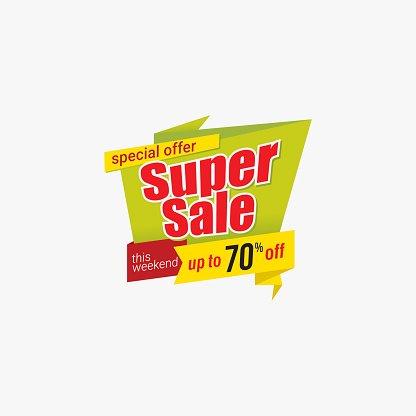 Super sale emblem, special offer banner Clipart Image.