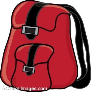 Clip Art of a Backpack With Straps.