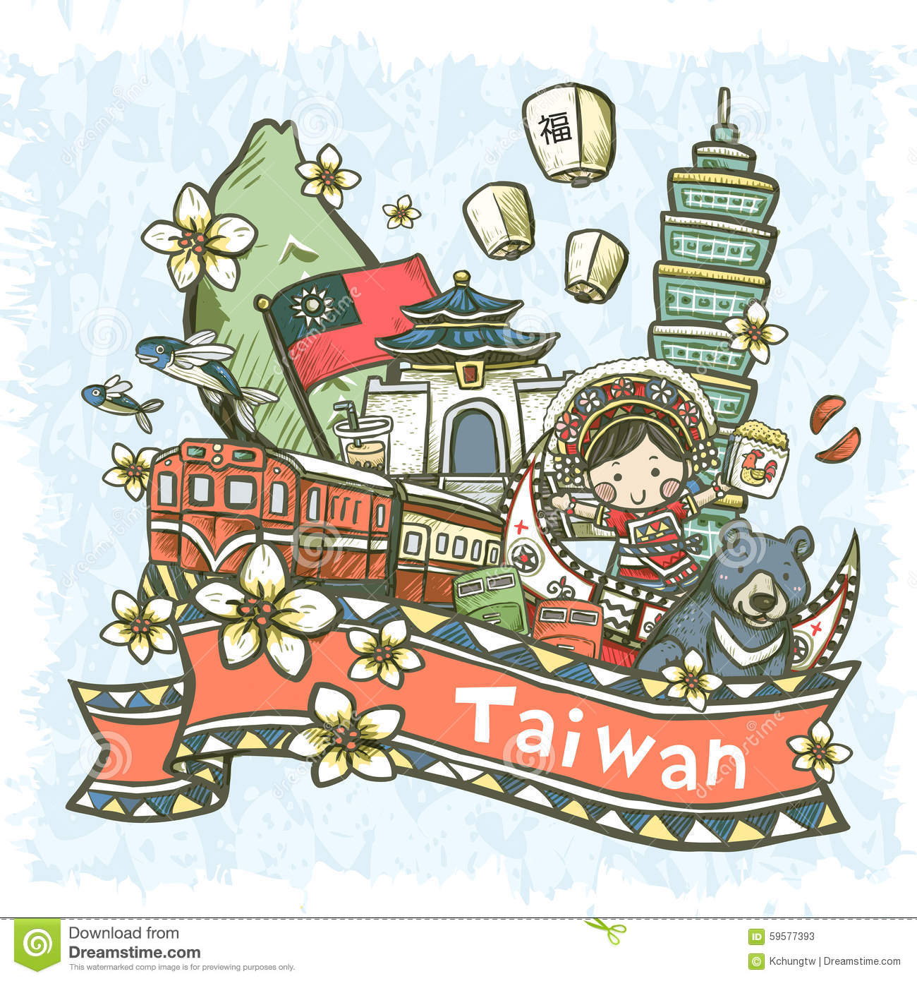 Lovely Hand Drawn Style Taiwan Specialties And Attractions Stock.