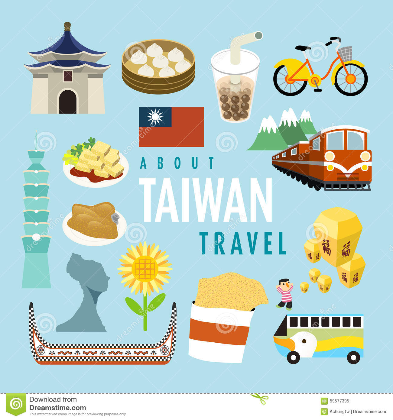 Lovely Taiwan Specialties And Attractions Stock Vector.