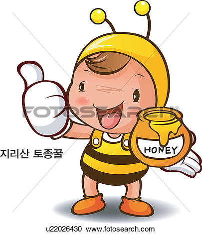 Clipart of Bee, local specialty, honey, Character, Characters.