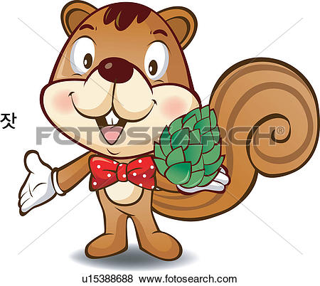 Clip Art of animal, local specialty, pine nuts, Character.