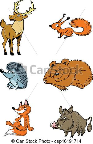 Vector Clip Art of forest animals.