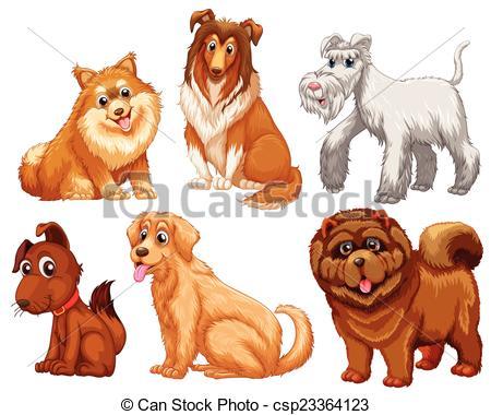 Illustrazioni vettoriali di differente, specie, cani.