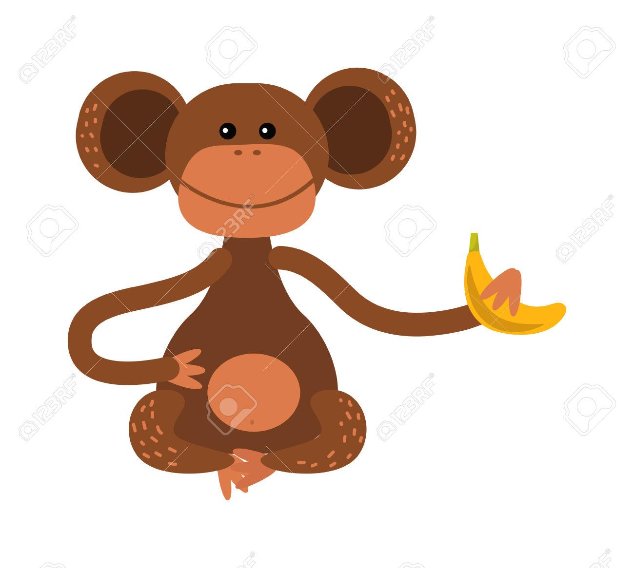Cartoon Monkey Vector Illustration. Monkey Animal And Jungle.
