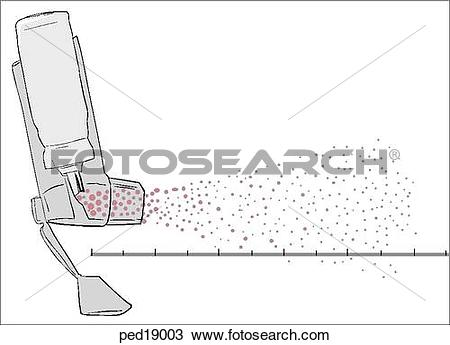 Drawing of Illustration of a metered dose inhaler with aerosol.