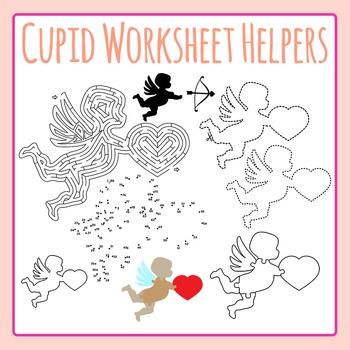 Valentine's Day Cupid Worksheet Helpers Clip Art Set for.