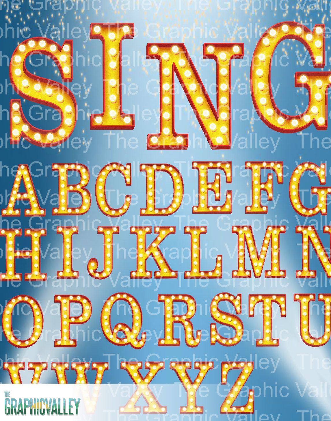 Broadway/ Hollywood style marquee text effect PNG clipart in.