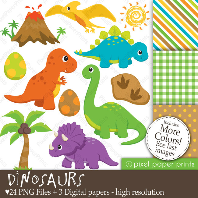 Dinosaurs Clipart and Digital Paper Set by pixelpaperprints.