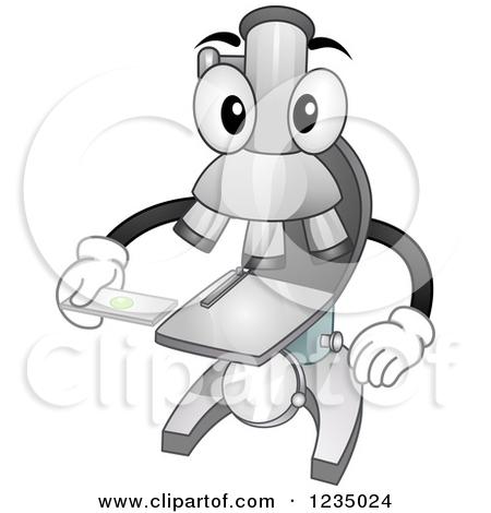 Clipart of a Microscope Mascot Holding a Specimen Slide.