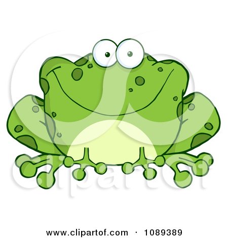 Clipart Speckled Green Toad Smiling.