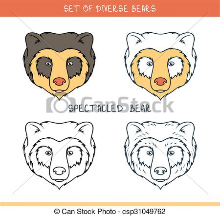 Clip Art Vector of Spectacled bear. Set isolated face, heads bear.