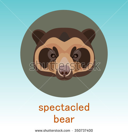 Spectacled Bear. Face Flat Icon Design. Animal Icons Series. Stock.