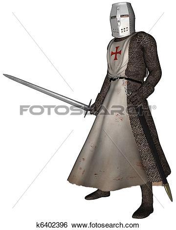 Stock Illustration of Early Medieval Templar Knight k6402396.