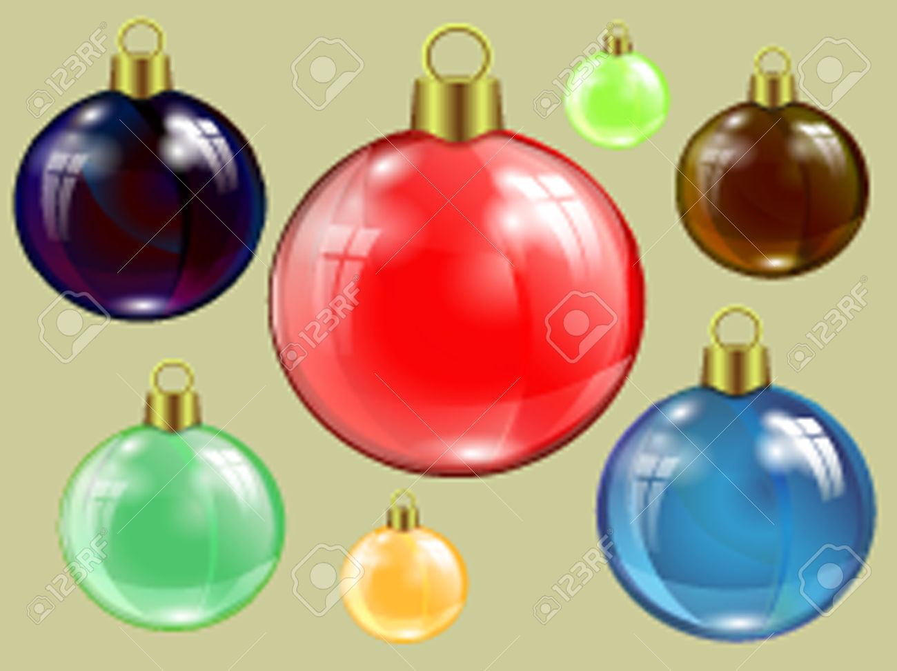 Set Of Christmas Colored Specular Highlights, Reflection Of Window.