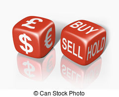 Stock Illustrations of Blue currency dice.