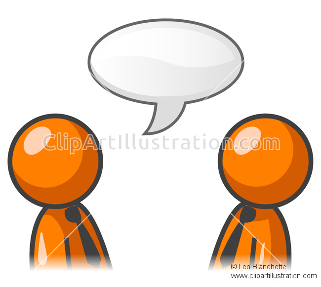 ClipArt Illustration Orange People Talking in Chit Chat.