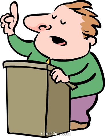 Someone giving a speech clipart.