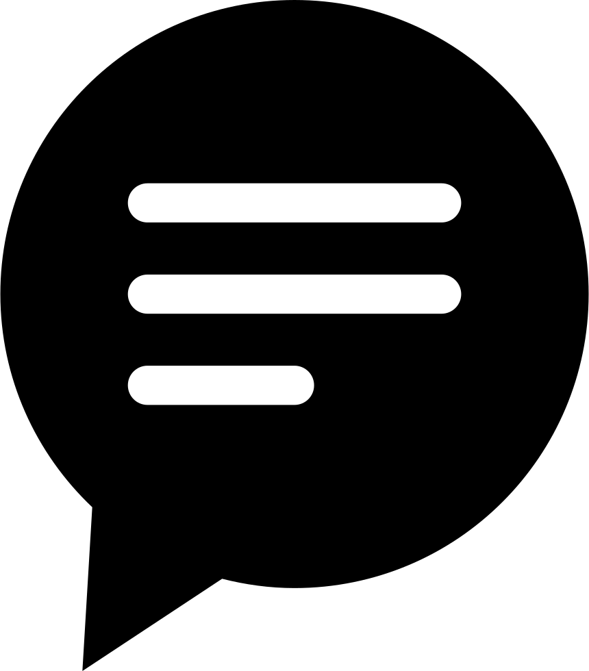 Circular Black Speech Bubble With Text Lines Svg Png Icon.