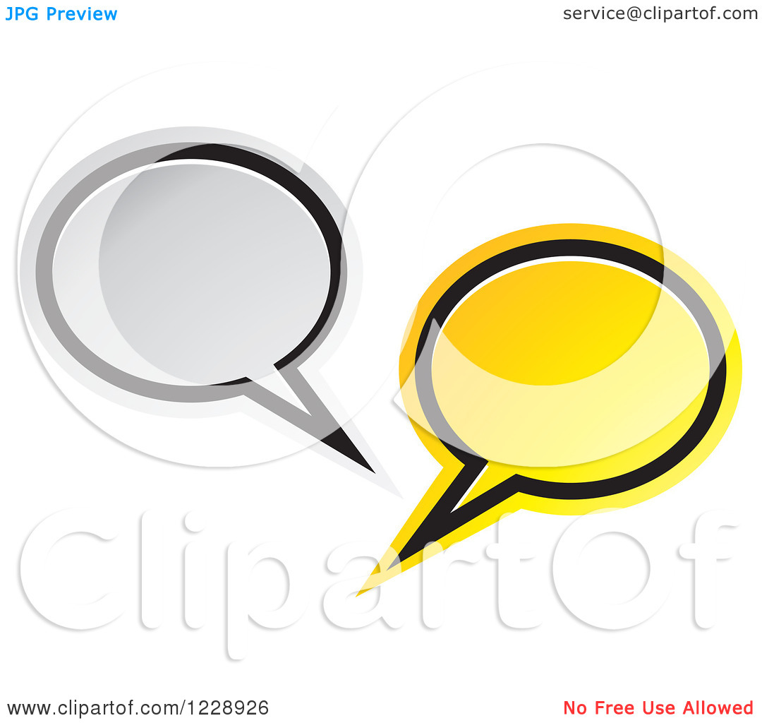 Clipart of a Silver and Yellow Speech Bubble Live Chat Icon.