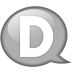 Silver Speech Balloon D Icon, PNG ClipArt Image.