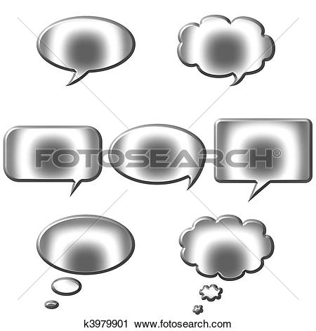 Clipart of 3D Silver Speech and Thought Bubbles k3979901.