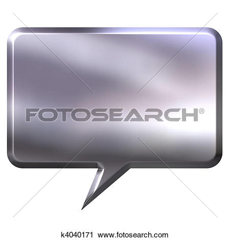 Clipart of 3D Silver Speech Bubble k4040171.