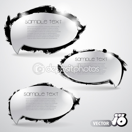 Set of Silver Grey Abstract Speech Bubbles Clipart — Stock Vector.