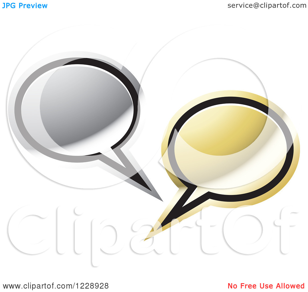 Clipart of a Silver and Gold Speech Bubble Live Chat Icon.
