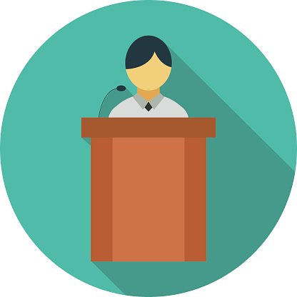 Podium Speech Clipart Image.