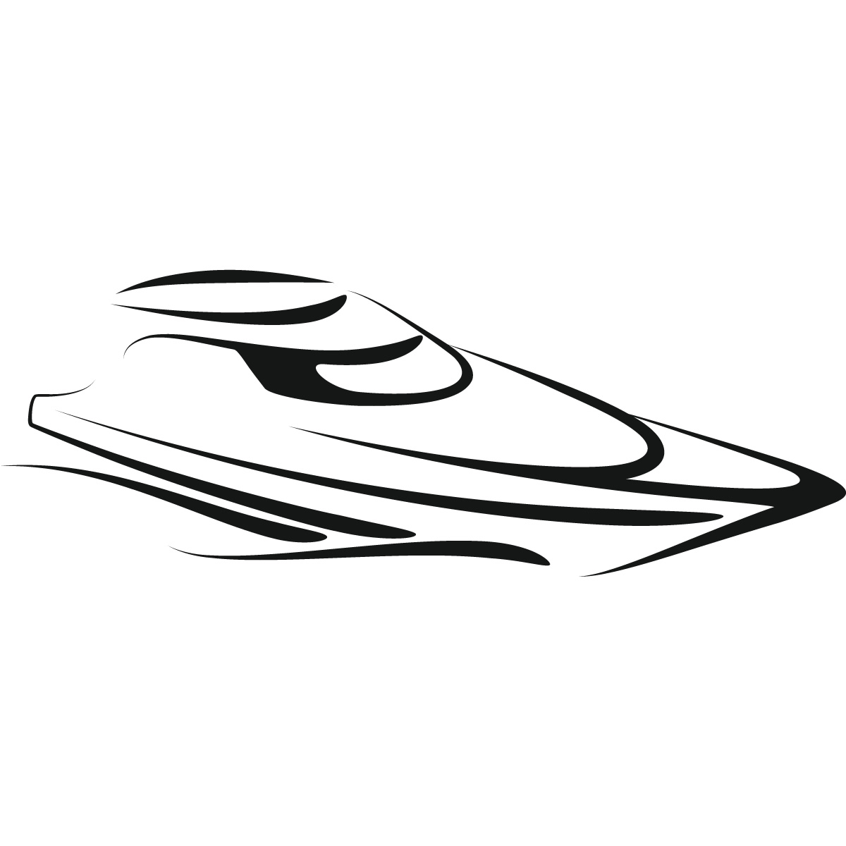 Speed boat clipart black and white.