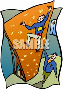 Colorful Cartoon of a Instructor Coaching a Rock Climber.