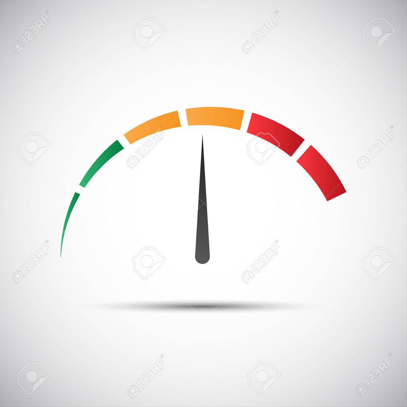 Simple Tachometer With Indicator In Orange Part, Speed Meter.