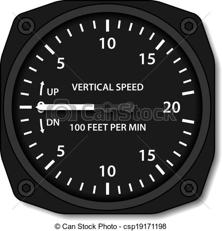 EPS Vectors of vector aviation variometer vertical speed indicator.