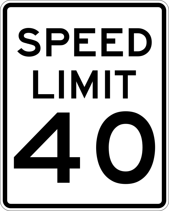 Free Clipart: Speed Limit 40.