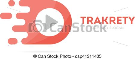 Vector Clipart of Vector fast play button logo combination. Speed.