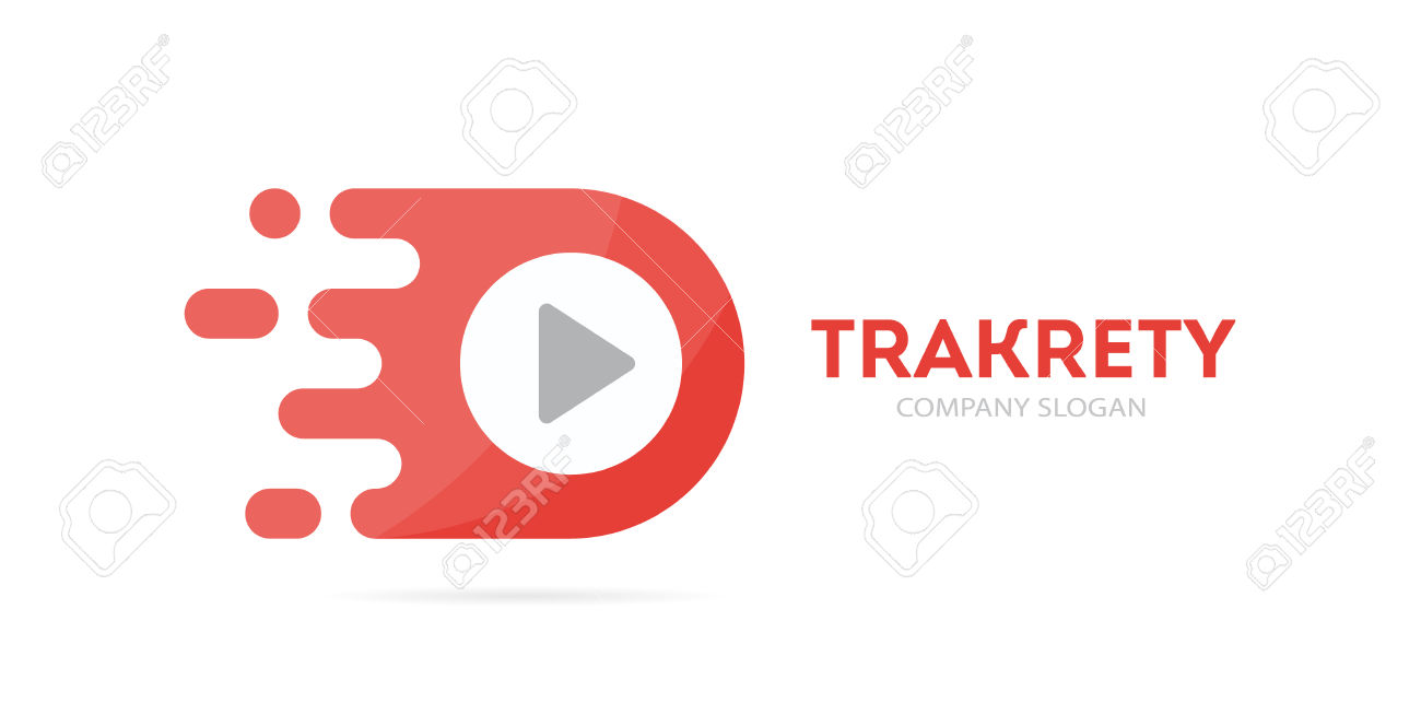 Vector Fast Play Button Logo Combination. Speed Record Symbol.