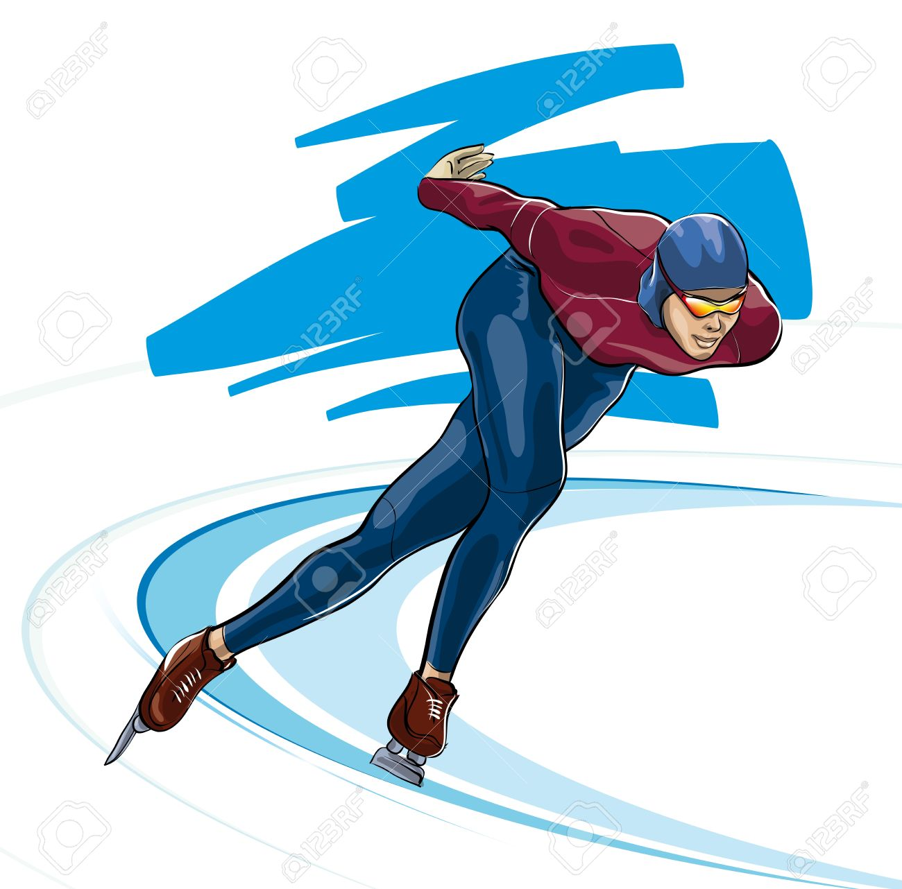 Speed skating clipart.