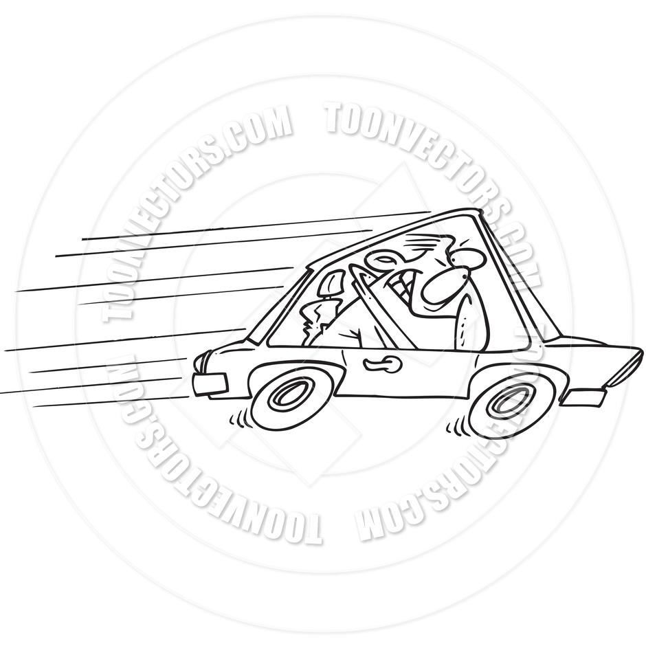Cartoon Speeder (Black and White Line Art) by Ron Leishman.