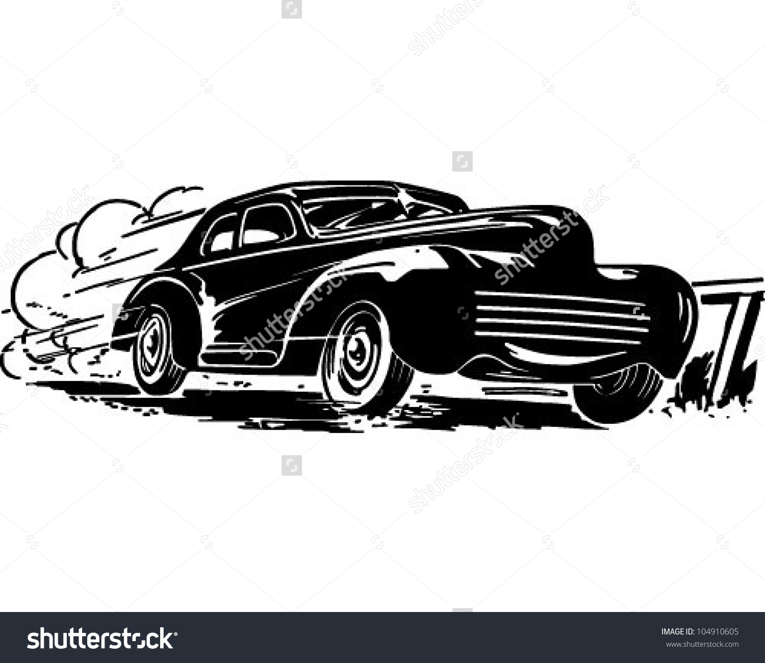 Speeding Car Retro Clipart Illustration Stock Vector 104910605.