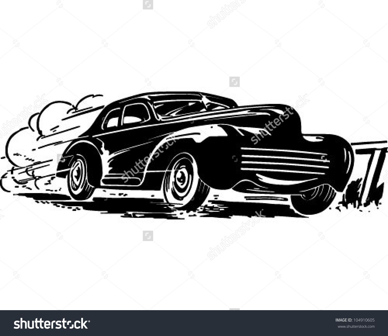 Speeding Car Retro Clipart Illustration Stock Vector 104910605.