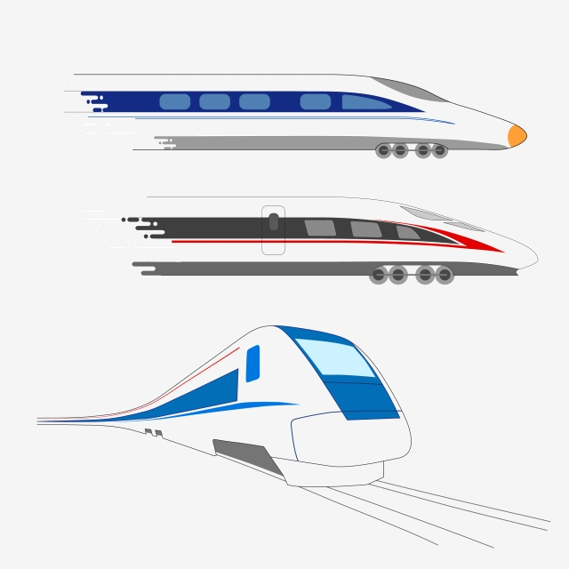 Passenger High Speed Train Hand Drawn Vector Material.