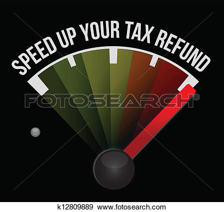 Clip Art of Speed up your tax refund speedometer k12809889.