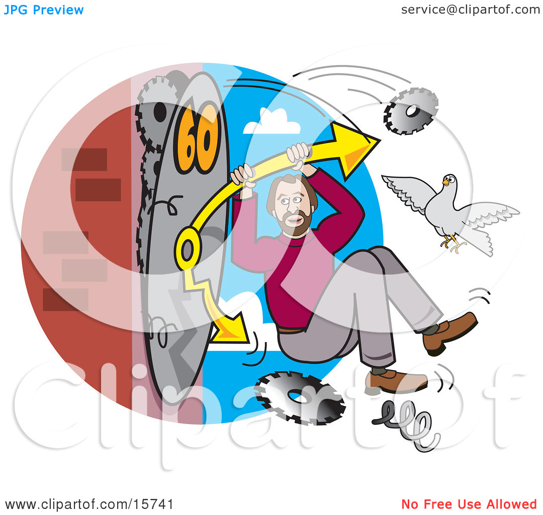 Man Hanging Onto The Arm Of A Breaking Clock, Trying To Speed Up.