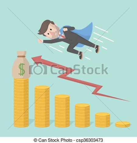 Vectors Illustration of businessman super speed up arrow progress.